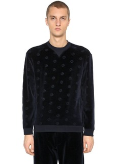 Armani Logo Cotton Velvet Sweatshirt