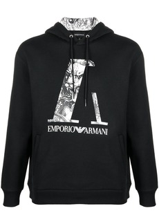 Armani logo drawstring hoodie