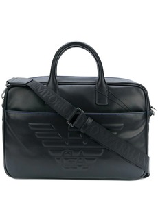 Armani logo embossed briefcase
