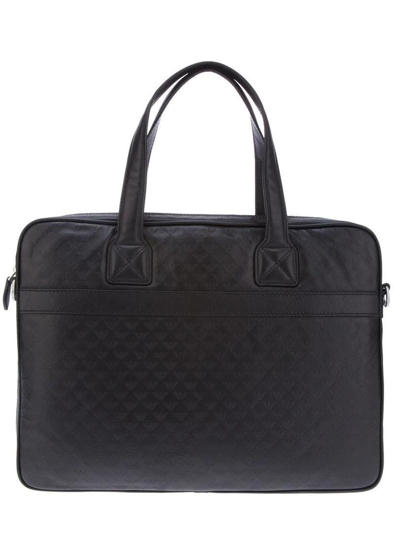 Armani logo embossed laptop bag