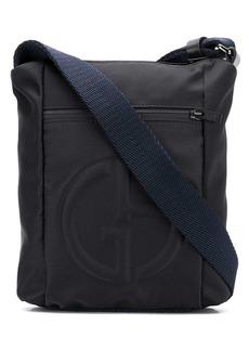 Armani logo embossed messenger bag