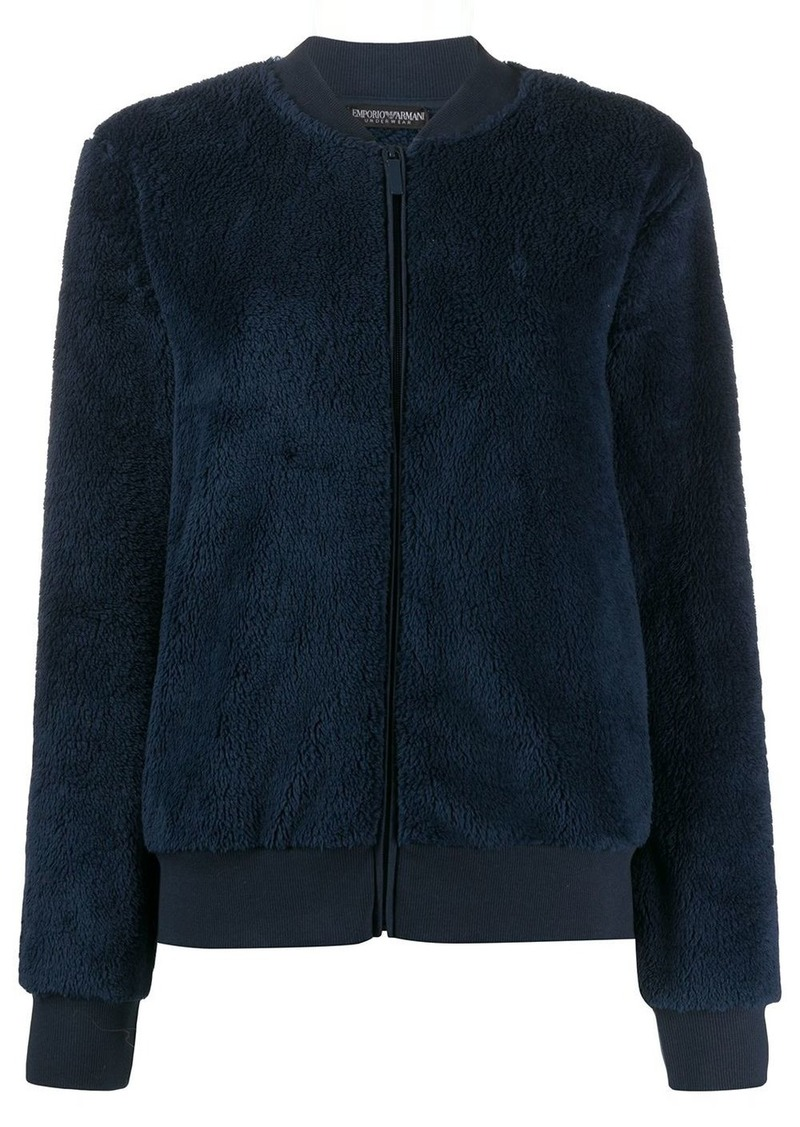 Armani logo-embroidered fitted bomber jacket
