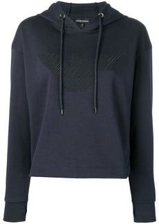 Armani logo embroidered hoodie