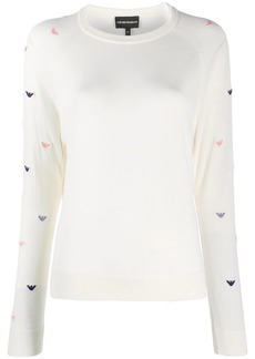 Armani logo-embroidered jumper