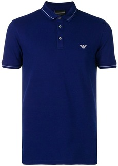 Armani logo embroidered polo shirt