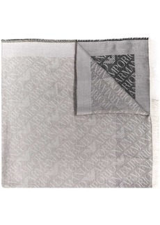 Armani logo embroidered scarf