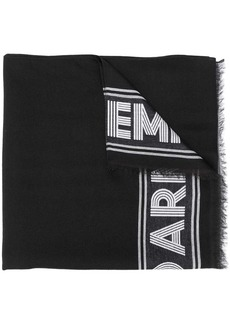 Armani logo embroidered scarf
