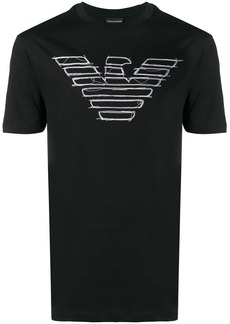 Armani logo embroidered T-shirt