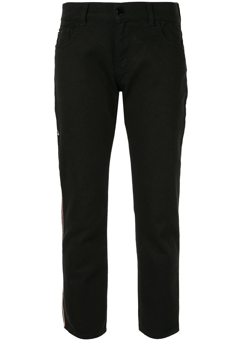 Armani logo embroidered trousers