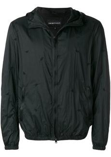 Armani logo embroidered zip-up jacket