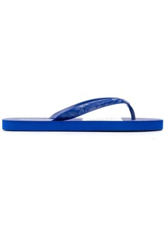 Armani logo flip flops