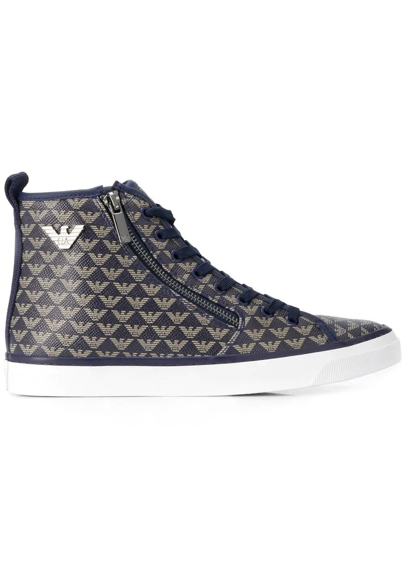 Armani logo hi-top sneakers