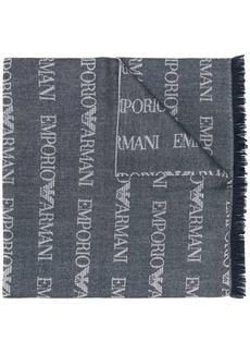 Armani logo knit long scarf