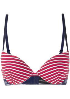 Armani logo lined striped bra