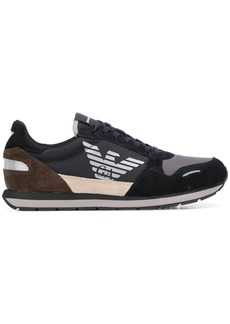 Armani logo panelled sneakers
