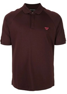 Armani logo patch textured polo shirt