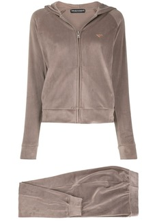 Armani logo-plaque hooded track jacket