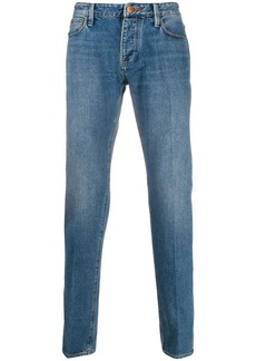 Armani logo plaque mid-rise straight-leg jeans