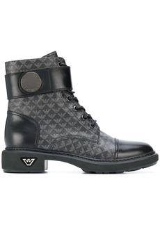 Armani logo print combat boots