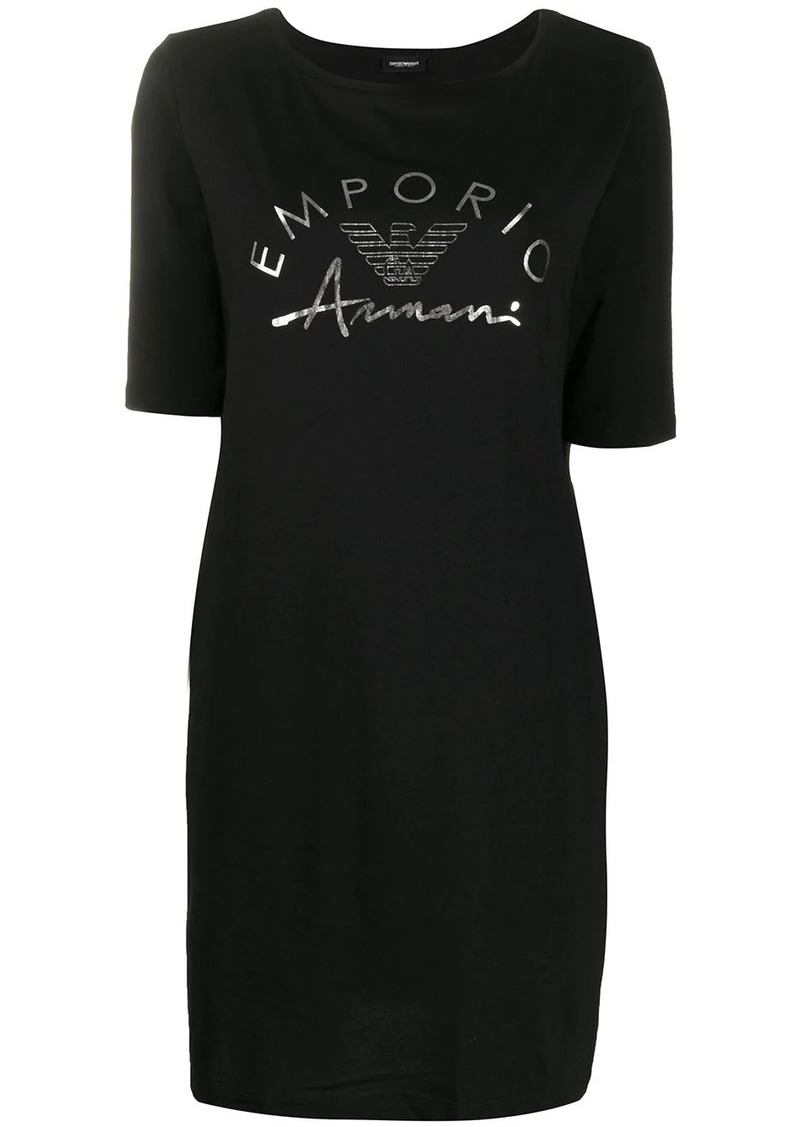 Armani logo-print crew neck dress