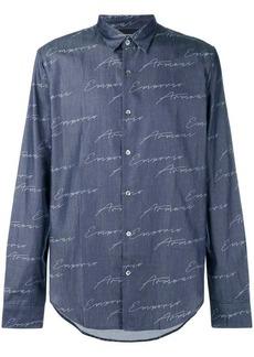 Armani logo print denim shirt