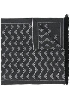 Armani logo print fringed scarf