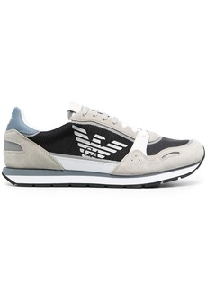 Armani logo-print suede trims sneakers