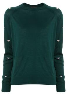Armani logo-sleeve knit sweater