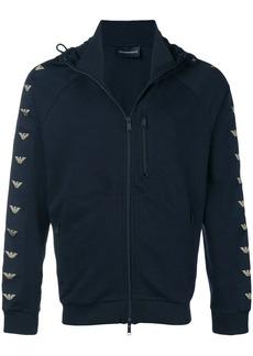 Armani Logo-sleeve zip-up hoodie