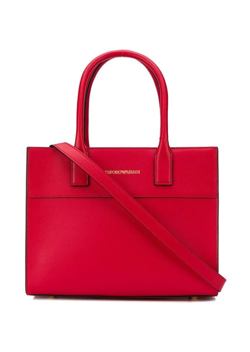 Armani logo stamp tote bag