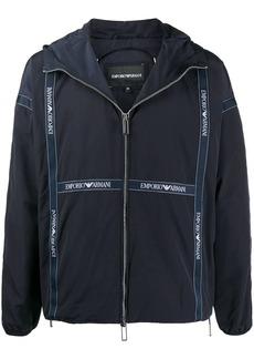 Armani logo tape hooded jacket