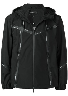 Armani logo tape hooded track top