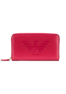 Armani logo zip around wallet