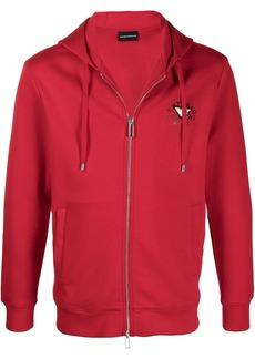 Armani logo zipped drawstring hoodie