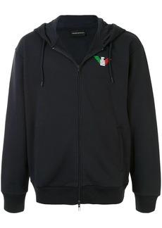 Armani logo zipped hoodie