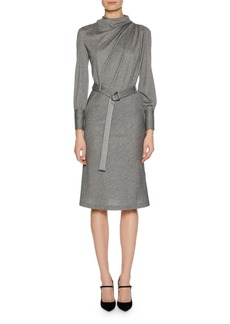 Armani Long-Sleeve Belted Pinstriped Jersey Dress