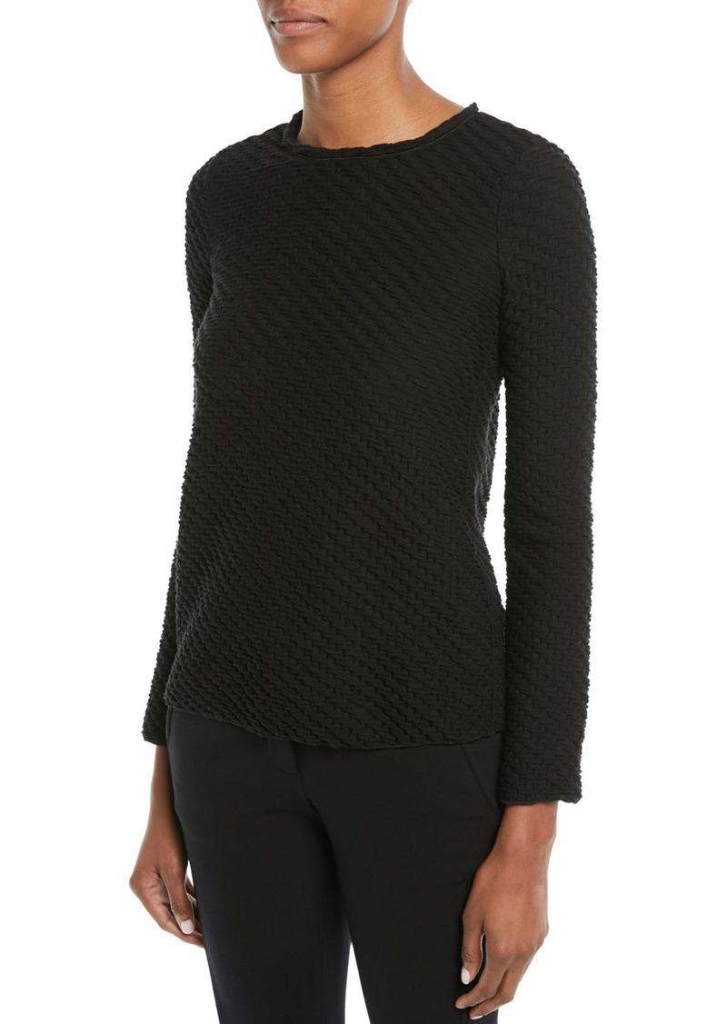 Armani Long-Sleeve Boucle Wool-Blend Sweater