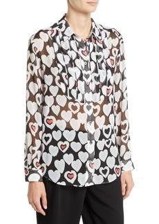 Armani Long-Sleeve Button-Front Heart-Print Chiffon Blouse