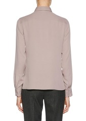 Armani Long-Sleeve Button-Front Stretch-Silk Blouse