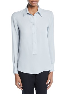 Armani Long-Sleeve Button-Front Stretch-Silk Popover Blouse