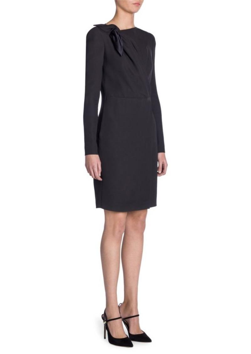 Armani Long-Sleeve Cady Silk Tie Dress
