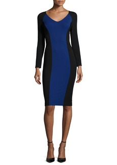 Armani Long-Sleeve Colorblock Sheath Dress  Black/Bluette