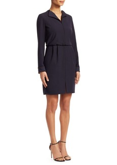 Armani Long-Sleeve Contrast Piping Shift Dress