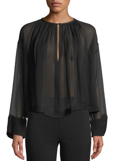 Armani Long-Sleeve Crinkle Chiffon Sheer Trapeze Blouse