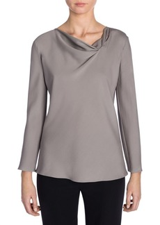 Armani Long-Sleeve Drape Neck Silk Top