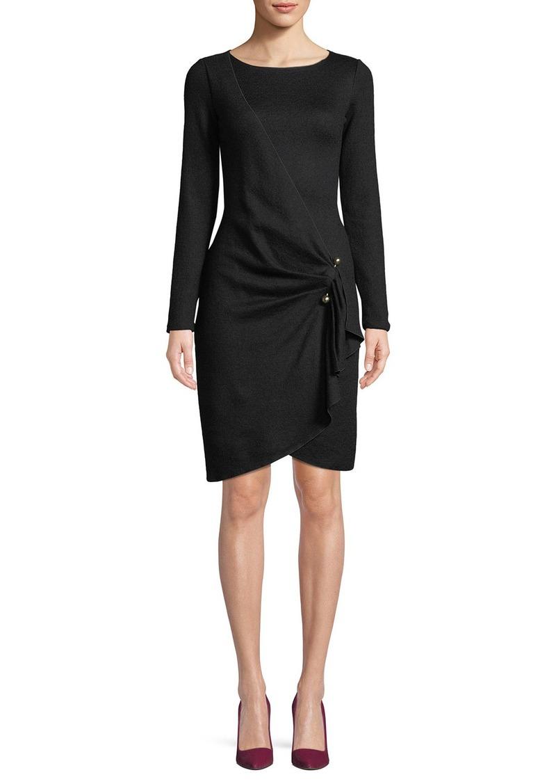 Armani Long-Sleeve Faux-Wrap Wool-Blend Dress w/ Metal Adornment