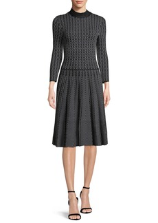 Armani Long-Sleeve Fit-and-Flare Chevron-Print Knit Jacquard Dress