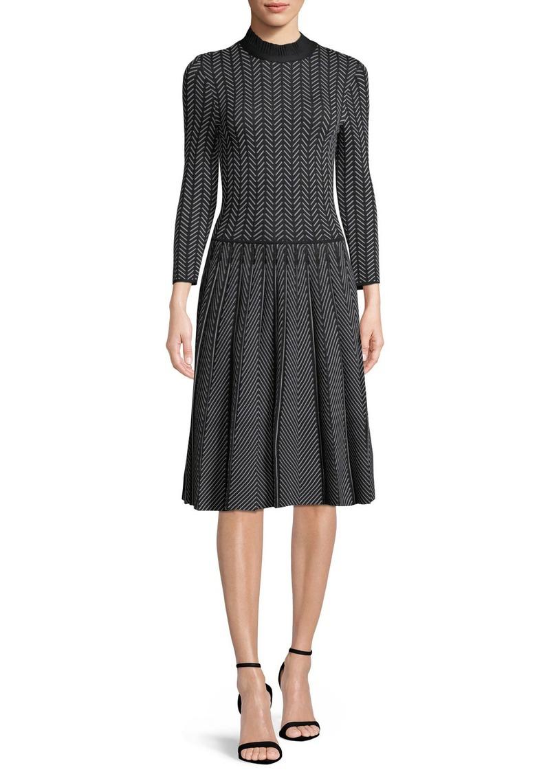 Armani Long-Sleeve Fit-and-Flare Chevron-Print Knit Jacquard Dress