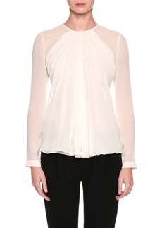 Armani Long-Sleeve Gathered Silk Georgette Blouse  White
