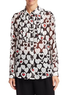 Armani Long Sleeve Heart Print Blouse